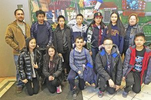 MathCounts team members include (from left, front row): Michelle Zeng, Alice Liu, David Kogan, Jin Won Kim and Anthony Zhan; (back row): Coach Zachary Boyt, Adam Tsou, Marcus Pang, Kaiming Zhang, YiLin Ge, Tessie Dong and Coach Diane Hodgson.