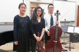 From left: The South High Chamber Music Trio is comprised of Soyoung Park, Christine Suh and Joshua S. Lee.
