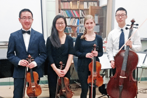 Member of the South High Chamber Music Quartet (from left): Kenny Huang, Christine Suh, Helena Woroniecka and Joshua S. Lee