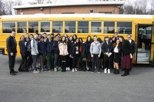 GNWPCD Superintendent Christopher Murphy (left), North Shore Hebrew Academy students and staff posed outside the East Shore Road wastewater treatment plant.