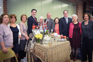 Center, from left: Town Clerk Wayne Wink, Town of North Hempstead Supervisor Judi Bosworth, Councilman Peter Zuckerman and Receiver of Taxes Charles Berman celebrated Purim with SHAI.