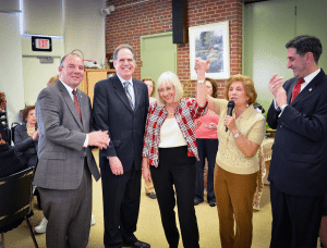 From left: Councilman Peter Zuckerman, Receiver of Taxes Charles Berman, North Hempstead Supervisor Judi Bosworth, Parvaneh Khodadadian and Town Clerk Wayne Wink celebrated Purim at the Great Neck Social Center.