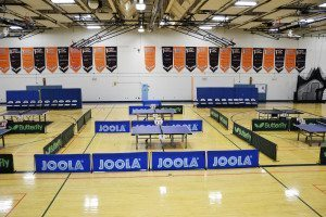 Great Neck North HS transformed into a professional table tennis arena.