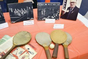 Table Tennis artifacts were displayed in memory of Table Tennis Hall of Famer Sol Schiff.