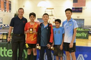Winners of the Novice/ Intermediate Category, from left: Eamonn Flood, North High athletic director; Aadithyaa Balasubramanian, Herricks Middle School, first place; Alex Meng, Roslyn Middle School, second place; Jaideep Grewal, Roslyn Middle School, third place