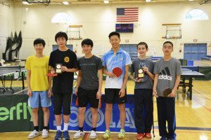 Winners of school teams competition, from left: Ben Liu, Brian Cho, Justin Liu, Great Neck South High School, first place; Kevin Li, Daniel Elion, Timothy Lee, Great Neck North High School, runner up