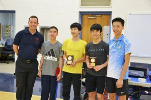 Winners of the Advanced Category, from left: Eamonn Flood, South High athletic director; Timothy Lee, North High, third place; Ben Liu North Middle, second place; Justin Liu North High, first place; Kevin Li, North High Table Tennis Club founder and president
