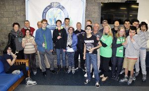 After receiving their awards, skaters posed with school district staff, including Cindi Zubli (fifth from right) and the Great Neck Park District Commissioners Daniel Nachmanoff, Robert A. Lincoln, Jr., Frank Cilluffo, Superintendent Jason Marra, Rink Director Dan Marsella and Coach Debbie Crawford.