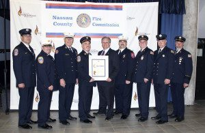 From left: Great Neck Alert Firefighter William Romero; Second Assistant Chief John Purcell, Great Neck Alert Fire Company; Commissioner James Mezey, Jr., chairman, Nassau County Fire Commission; Chief James Neubert, Great Neck Alert Fire Company; Nassau County Executive Ed Mangano; Nassau County Chief Fire Marshal Scott D. Tusa; Second Lieutenant Howard Stich, Great Neck Alert Fire Company; Great Neck Alert Firefighter David Hertz; and Ronald Campbell, ex-chief and trustee, Great Neck Alert Fire Company