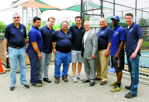 Making the grand opening event a success was the hardworking Park District staff (from left): Commissioner Daniel M. Nachmanoff, Nick Martakis, Robert Campbell, Manny Falzon, Superintendent Jason R. Marra, Commissioners Frank S. Cilluffo and Robert A. Lincoln, Jr., Nate Gray and Pat Blaha.
