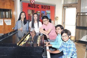 South Middle musicians who will perform at Lincoln Center, from left: Michelle Foo, Christiana Claus, Jeffrey Ma, Benjamin Rossen and Eugene Hong (Photo by Bill Cancellare)