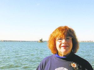 Alice Kasten on a boat trip to raise funds for the lighthouse (Photo by Sheri ArbitalJacoby)