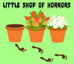 Levels, the Great Neck Library's Teen Center, will present the man-eating plant musical Little Shop of Horrors. (Illustration by Elaine Zhang)