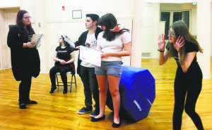 Cast members from Levels' Little Shop of Horrors in rehearsal, from left: Maureen Guy, Daisy Korman (seated), Jonathan Schindler, Rebecca Hirschhorn and Phoebe Gordon