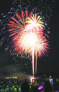 Fireworks light up the sky over Hempstead Harbor.
