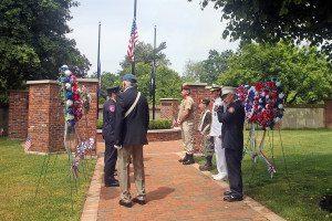 Wreaths at the war memorial