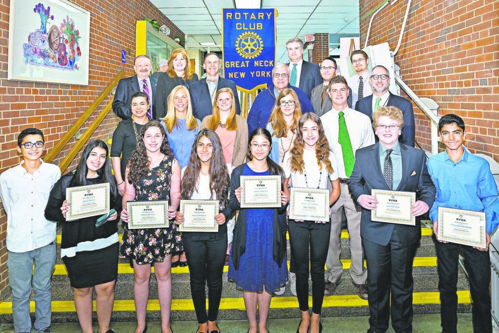 Honorees (from left, front row): Jeremy Bassali, Kayla Kreinik, Maya Garfinkel, Audrey Yeganeh, Joelle Siong Sin, Valerie Deligiannis, Derek Delson, Ariel Homayoonfar; (middle row): Town of North Hempstead Councilwoman Anna Kaplan, North Middle teacher Lauren Ferguson, North Middle teacher Elizabeth Oggeri, South Middle faculty advisor Kristin Klein, South Middle teacher Brian Pernice, NSHA Rosh HaYeshiva Rabbi Jeffrey Kobrin; (back row): Rotary Club of Great Neck President Leonard N. Katz, GN Superintendent of Schools Dr. Teresa Prendergast, North Middle Principal Gerald C. Cozine, Assistant Superintendent–Secondary Dr. Stephen Lando, South Middle Principal Dr. James Welsch, NSHA Middle Principal Rabbi Adam Acobas, South Middle teacher Dan Isaac.