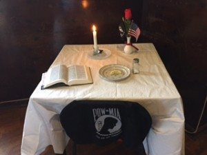 The table used during the POW/MIA ceremony