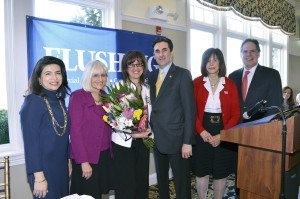 From left: Councilwoman Anna Kaplan, Supervisor Judi Bosworth, Mayor Susan Lopatkin, Town Clerk Wayne Wink, Councilwoman Lee Seeman and Receiver of Taxes Charles Berman at the at the 23rd Annual Women's Roll of Honor Breakfast