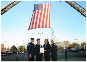 Alert Fire Department Former Chief and Board Member Ron Campbell, Chief James E. Neubert, Legislator Ellen W. Birnbaum and Second Assistant Chief John Purcell