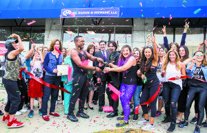 The Great Neck Chamber, residents and MCDF members celebrated the grand reopening of MC Dance & Fitness with owners Yves Maco and Coco Xie. (Photo by Meirav Hofman)