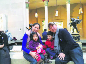 Teacher Tony with his wife, Cleo, and their two children at The Met (Photo courtesy of Teacher Tony)