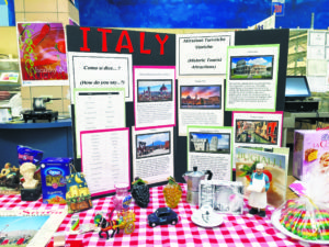 At the cultural heritage celebration, Italy was one of the 72 countries represented with a display. This one was put together by two North Middle teachers and included a poster of facts about the country, family mementos and homemade Italian cookies.