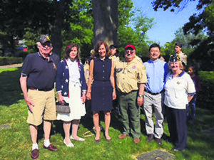 From left: Jim Morehead, commander, VFW Post #372 (Great Neck); Councilwoman Lee Seeman; Nassau County Legislator Ellen Birnbaum; Donald Panetta, Boy Scout Troop #10 leader; Rev. Father Joseph S. Pae; Commander Louise McCann, American Legion Post #160
