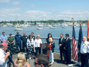 From left: Town constables from North Hempstead, Oyster Bay, Glen Cove, U.S. Coast Guard, Port Washington Police, Councilwoman Lee Seeman, Assemblywoman Michelle Schimel, Nassau County DA Madeline Singas, Town Supervisor Judi Bosworth, Senator Jack Martins and Town Clerk Wayne Wink