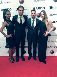 The duo with their girlfriends, from left: Jen Fernandez, Scott Aharoni, Dennis Latos and Nikki Xristodoulo