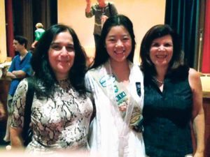 GNBCC Vice President Randa Maher (left) and President Laura Weinberg flank Robin Shum, who received a Nassau County Girl Scout Gold Award
