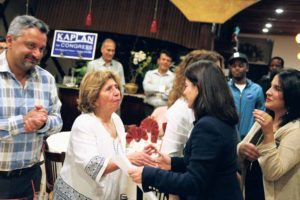 Kaplan shook hands with supporters.