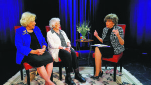 From left: Janet Wiener-de Winter, Phoebe Lazarus, PhD, and Sabina Miller on the set of Seniors for Seniors