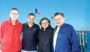 Great Neck Park District Superintendent Jason Marra (second from left) with members of the new sailing club