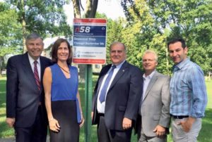 From left: Great Neck Park District Commissioner Daniel M. Nachmanoff, Nassau County Legislator Ellen W. Birnbaum,  Commissioners Robert A. Lincoln, Jr., and Frank S. Cilluffo, and Superintendent Jason R. Marra were instrumental in getting the bus stop added to the N-58 route. (Photo by Michele Siegel)