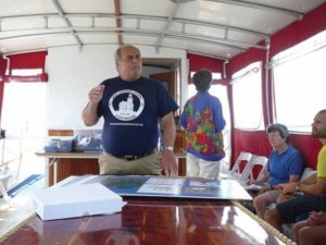 Robert Lincoln, who spearheads the drive to save the Stepping Stones Lighthouse, told participants on the Great Neck Historical Society boat ride of the significant history of the waterfront region.