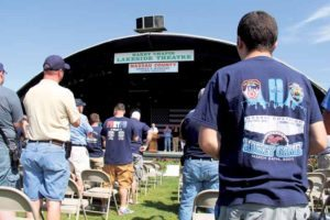 Attendees listening as ex-Floral Park Chief/President of Nassau County Firefighters Operation Wounded Warrior Joseph O'Grady spoke