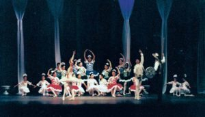 Roberta Senn, Osamu Uehara and Mark Diminno performing with GNSD students in the finale of Don Quixote in 1999
