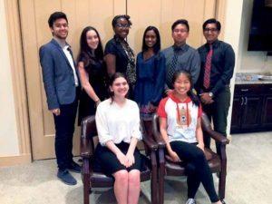 From left, top row: Elan Itschakov, Kayla Lieb, Sayo Ogunleye, Joanna George, Adrian-James Gevero and Mohammad Samroz; bottom row: Stacy Okin and Dorothy Liu
