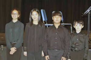 North Middle Piano Quartet, from left: Nina Phillips, Vera Cho, Daniel Choi and Albert Jan