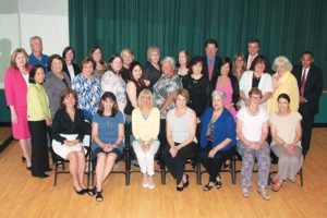 Great Neck Public School retirees were recognized by the Board of Education, including President Barbara Berkowitz, Board Trustee Susan Healy, Superintendent Dr. Teresa Prendergast and assistant superintendents, as well as the district's professional associations, whose presidents are pictured. (Photo by Irwin Mendlinger)