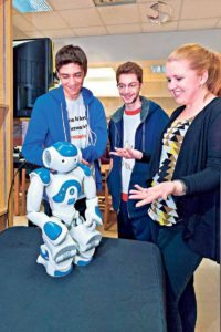 The programmable Nao Robot was one of several new technologies on display during North High's Teen Tech Week. (Photo by Jeff Barlowe)