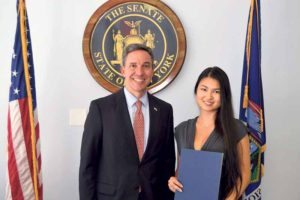 Senator Martins congratulated Great Neck South valedictorian and graduate Emily Bae on being one of only 300 national semi-finalists in the 2016 Intel Science Talent Search.