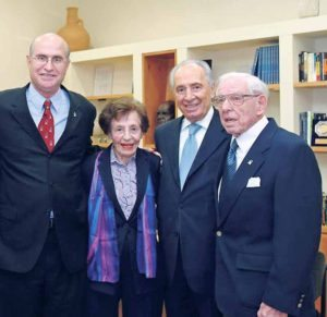 From left: then BGU President Professor Avishay Braverman, Lottie Marcus, then Israel  President Shimon Peres and Dr. Howard Marcus