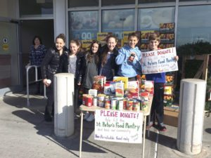 RSNS students, Charlotte Kerpen, Dani Gutenplan, Taylor Gutenplan, Hope Lane, Jack Witkow and Daniel Ruskin, went to local supermarkets for donations from shoppers of nonperishable food items for the St. Peter's Food Pantry.