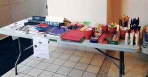 Some of the school supplies collected at a past event held by Nassau County Legislator Ellen W. Birnbaum