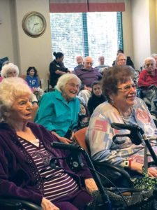 Great Neck teens from the JLE Teen Club of Lake Success Chabad performed a talent show for the seniors at the Atria Cutter Mill.