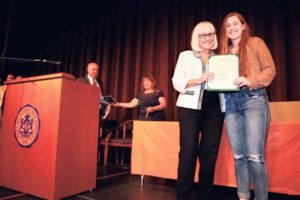 Supervisor Judi Bosworth presented Yael Lissak with the town's Environmental Stewardship Award.