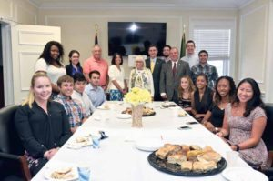 Intern Breakfast attendees, from left: Barbara Lucas of North Bellmore, Alex Katz of Albertson, Shauntel Cumberbatch of the Bronx, Brian Fajardo of Great Neck, Monica Mobasser of Great Neck, Anastasios Thermos of Port Washington, Councilman Angelo Ferrara, Councilwoman Dina De Giorgio, Town Supervisor Judi Bosworth, Town Clerk Wayne Wink, Gregory Smaldone of Manhasset, Councilman Peter Zuckerman, Thomas Mastrototaro of Roslyn, Mark Kashani of Roslyn, Victoria Nugent of Roslyn Heights, Amanda Temares of Plandome, Diana Lee of Roslyn Heights and Emily Lattner of Manhasset