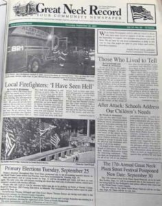 The Sept. 20, 2001 edition of the Great Neck Record